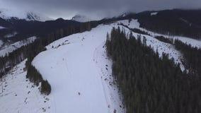 Opinião superior do zangão de Jasna Europa Aerial do inverno do esqui de Eslováquia da montanha da neve vídeos de arquivo