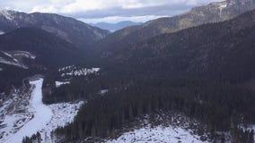 Opinião superior do zangão de Jasna Europa Aerial do inverno do esqui de Eslováquia da montanha da neve filme