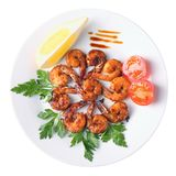 Opinião superior dos camarões de Teriyaki Fotografia de Stock