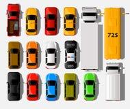 Opinião superior dos carros Ícones do transporte do veículo da cidade ajustados Carro do automóvel para o transporte ilustração do vetor