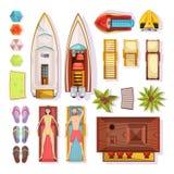 Opinião superior dos elementos da praia ilustração do vetor