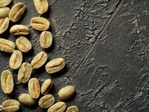 Opinião superior feijões de café verdes Fotografia de Stock