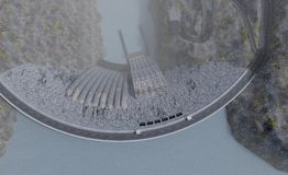 Opinião superior hidroelétrico da planta da central elétrica, ilustração 3d Fotografia de Stock