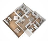 Opinião superior lisa do apartamento, mobília e decorações, plano, design de interiores de seção transversal, ideia do conceito d ilustração do vetor