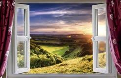 Opinião surpreendente da janela Fotos de Stock Royalty Free
