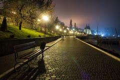 Opinião surpreendente da rua do parque da noite com o castelo no fundo foto de stock royalty free