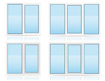A opinião transparente plástica da janela dentro e vector fora o illu Imagens de Stock Royalty Free