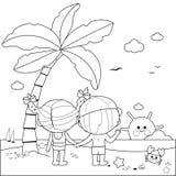 Opinião traseira as crianças na praia sob uma palmeira Página preto e branco do livro para colorir ilustração royalty free