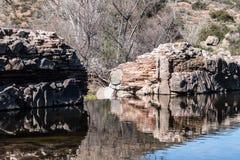 Opinião traseira da represa velha da missão Fotografia de Stock Royalty Free