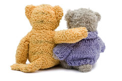 Opinião traseira dois ursos da peluche Fotos de Stock