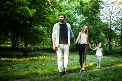 Opinião traseira a família nova que anda no parque do verão fotos de stock royalty free