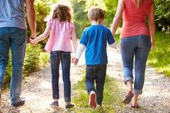 Opinião traseira a família que anda no campo Foto de Stock Royalty Free