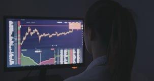 A opinião traseira a mulher de negócios do financeiro trabalha no mercado financeiro no computador filme