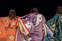 Opinião traseira a mulher do quimono fotografia de stock royalty free