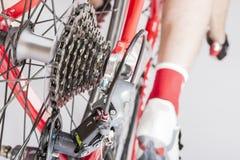 Opinião traseira o atleta Leg Inline com Derailleur traseiro e gaveta Sprokets Imagem de Stock