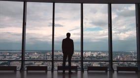 Opinião traseira o homem de negócios em um escritório com opinião panorâmico da cidade O homem de negócios admira a cidade de Win Imagens de Stock Royalty Free