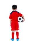 Opinião traseira o jogador de futebol asiático com futebol Tiro do estúdio Iso Fotografia de Stock