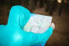 Opinião traseira o viajante no hoodie azul que verifica o mapa ao descansar na floresta do pinho imagem de stock royalty free