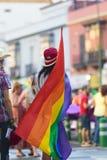 Opinião traseira a pessoa que guarda a bandeira do orgulho alegre Fotografia de Stock Royalty Free