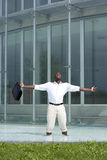 Opinião traseira um homem de negócios dentro de uma associação Imagem de Stock Royalty Free