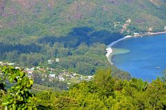 Opinião tropical da floresta na ilha de Seyshelles Fotografia de Stock