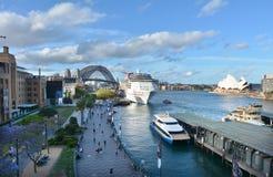 Opinião urbana aérea da paisagem Sydney Circular Quay em Sydney Ne Fotos de Stock Royalty Free