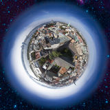 Opinião velha da skyline da cidade de Riga de cima de Fotografia de Stock Royalty Free