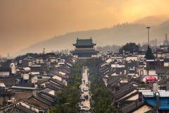 Opinião velha do telhado da cidade de Dali Fotos de Stock