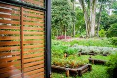 Opinião verde do jardim com árvores, flores e frutos Imagens de Stock