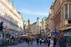 Opinião Viena da rua de Graben, Áustria fotografia de stock