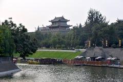 Opinião Xian City Wall, China foto de stock