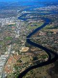 Opinión aérea 2 del río del cisne Fotos de archivo