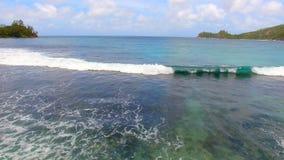 Opinión aérea Baie Lazare Beach, Mahe Island, Seychelles 6 almacen de video