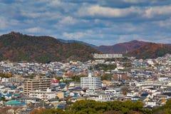 Opinión aérea céntrica de la residencia de Himeji foto de archivo
