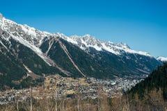 Opinión aérea Chamonix Valley Fotos de archivo libres de regalías