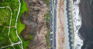 Opinión aérea Costa Verde en Lima Peru almacen de metraje de vídeo