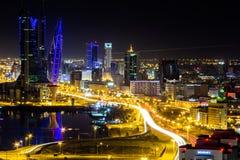 Opinión aérea de Bahrein en la noche 2 Fotos de archivo libres de regalías
