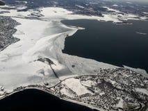 Opinión aérea de Boston en invierno Fotos de archivo libres de regalías