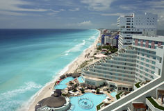 Opinión aérea de Cancun imagen de archivo