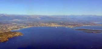 Opinión aérea de Cannes, azur Provence Francia del ` de Cote d Imágenes de archivo libres de regalías