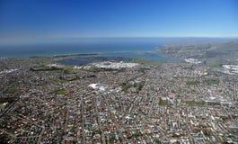 Opinión aérea de Christchurch de suburbios del este Fotos de archivo