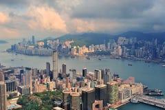 Opinión aérea de Hong-Kong Imagen de archivo libre de regalías