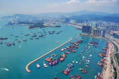 Opinión aérea de Hong-Kong Fotos de archivo libres de regalías