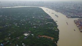 opinión aérea de 4k Bangkok del horizonte de la ciudad almacen de metraje de vídeo