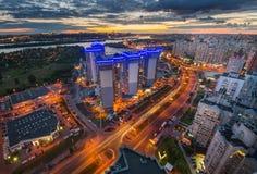 Opinión aérea de Kiev de la noche Imagen de archivo libre de regalías