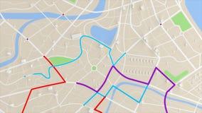 opinión aérea de la animación 4K del mapa con la trayectoria móvil de la ubicación del edificio 3d y del destino ilustración del vector