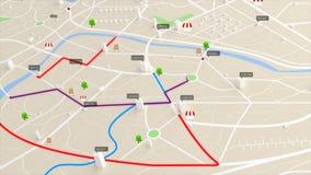 opinión aérea de la animación 4K del mapa con la trayectoria móvil de la ubicación del edificio 3d y del destino libre illustration