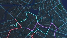 opinión aérea de la animación 4K del mapa de la noche con la trayectoria móvil de la ubicación del edificio 3d y del destino con
