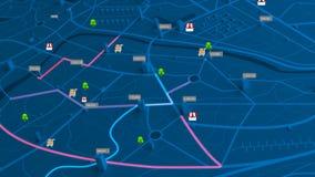 opinión aérea de la animación 4K del mapa de la noche con la trayectoria móvil de la ubicación del edificio 3d y del destino con  stock de ilustración