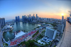 Opinión aérea de la bahía del puerto deportivo de Singapur Foto de archivo